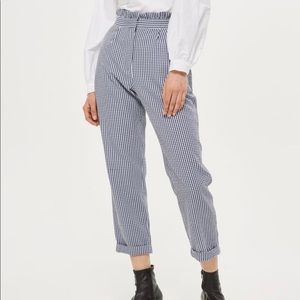 Topshop Ruffle Waist Gingham Trousers. Size 10